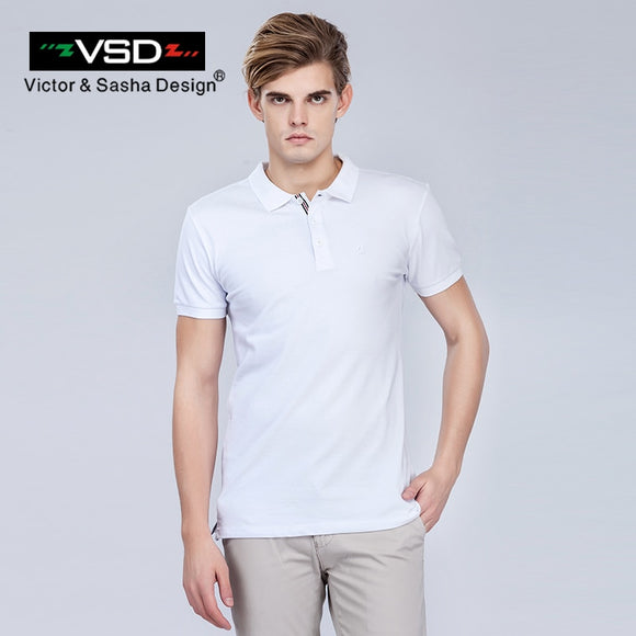 VSD  Men's Summer Slim Short Sleeve Polo Shirts Cotton Embroidery Solid Brand Clothing White Gray Red Dark Blue Black Y6101