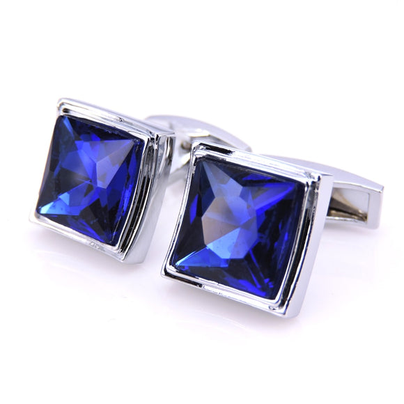 WN Men's fashion brand stainless steel cufflinks blue crystal peace crime clothing accessories French shirt cuff links