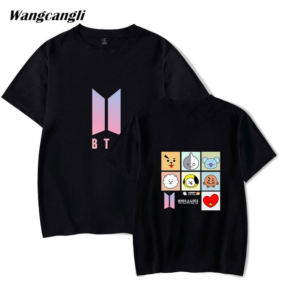 Wangcangli new BTS BT21 cartoon t shirt album Kpop men's T-shirts hip hop Casual loose clothing short sleeve t-shirts XXS-4XL