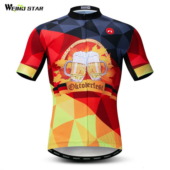 Weimostar Germany Beer Cycling Jersey Team Sport Cycling Clothing Breathable Bicycle Shirt Summer Men's Mountain Bike Jersey Top