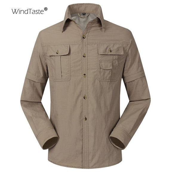 WindTaste  Summer Quick Dry Outdoor Men's Shirts Breathable Removable Sport Fishing Trekking Hiking Male Thin Clothing KA080