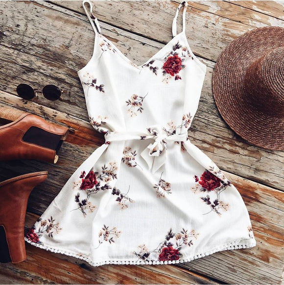 Women Dress 2018 Summer Sleeveless V Neck Floral Boho Dress Casual Beach Mini Dress Sundress Robe Femme vestidos White