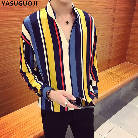 YASUGUOJI new autumn fashion contrast color vertical stripe v-neck long sleeve shirt men chemise homme men's loose clothing CS7