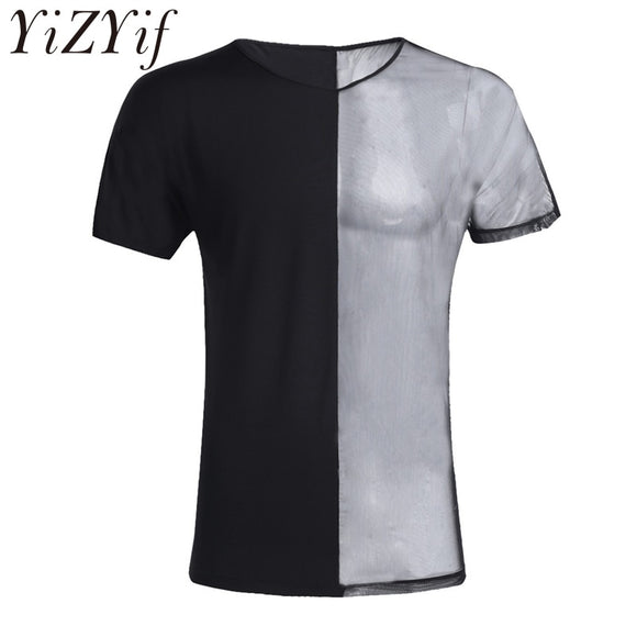 YiZYiF Mens Short Sleeve Crew Neck Half See Through Contrast Splice T-Shirt Tops Undershirt Clothing for Men's Slim Clubwear