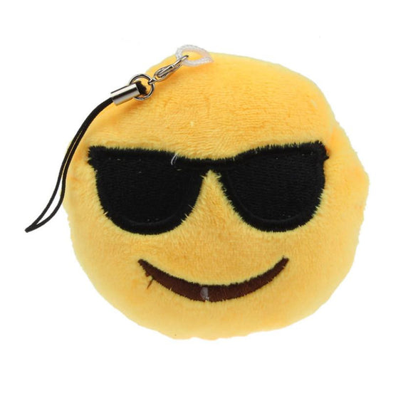 New  Emoji Smiley Emoticon Sunglass Toy Gift Pendant Bag Accessory Plush Toy