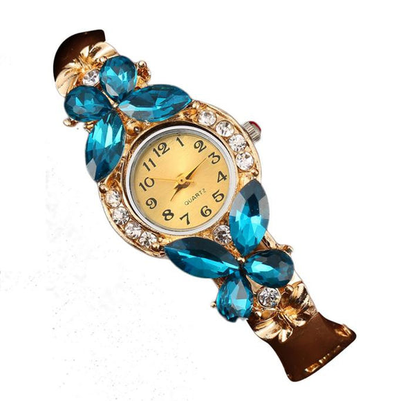 Women Crystal Rhinestonetterfly Bracelet Quartz Watch Wristwatch