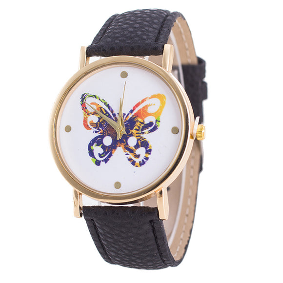 Womens Ladiestterfly Pattern Leather Quartz Wrist Watch