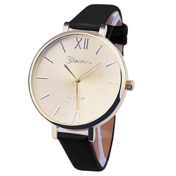 Geneva Women Leather Analog Quartz Wrist Watch