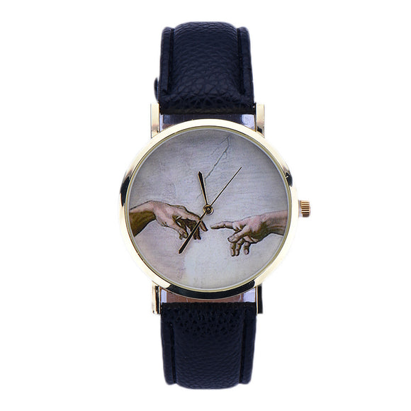 Women Lady Leather Analog Quartz Wrist Watch