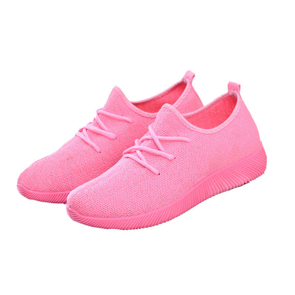 Women Sport Running Casual PINK Lace Up Shoes Coconut Sports Shoes Student Flat Shoes