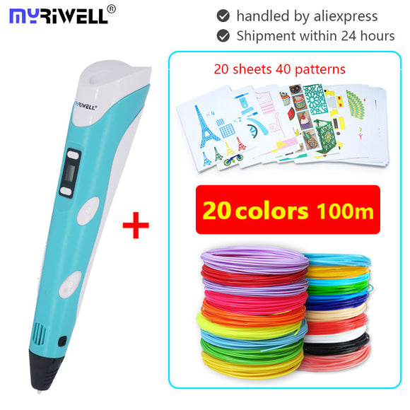 myriwell 3d pen RP-100B pens 100m abs 1.75mm pla filament 3d printed pen 3 d pen  Smart Child birthday gift  model Drawing Tool