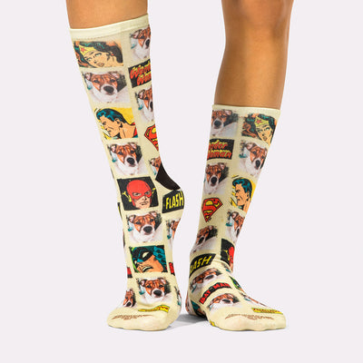 Superhero Vintage Dog Socks