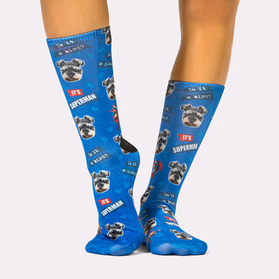 It's Superman Dog Socks