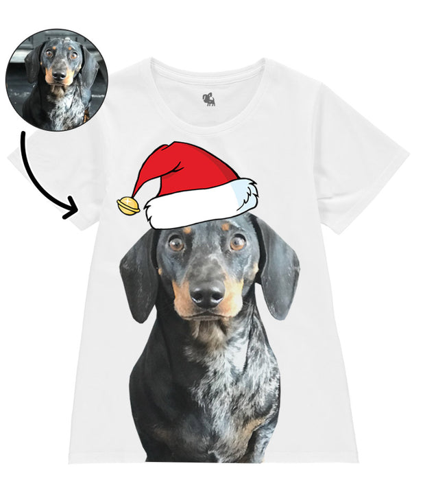 Dog Face Ladies Christmas T-Shirt