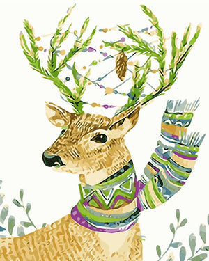 DIY-PAINT BY NUMBERS-DEER WITH SCARF