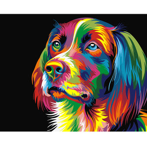 DIY-PAINT BY NUMBERS-COLORFUL DOG