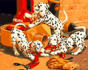 DIY-PAINT BY NUMBERS-DALMATIANS