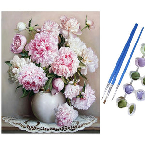 DIY-PAINT BY NUMBERS-PINK FLOWERS