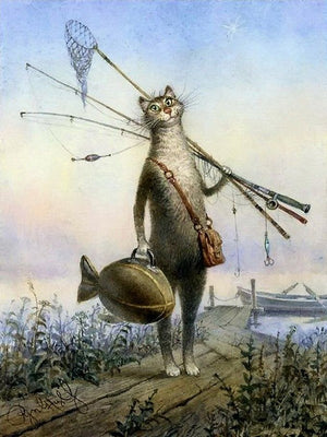 DIY-PAINT BY NUMBERS-FISHING CAT