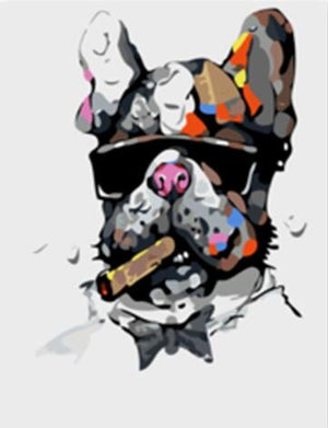 DIY-PAINT BY NUMBERS-DOG SMOKING CIGAR