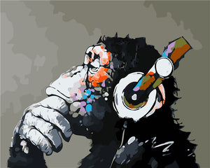 DIY-PAINT BY NUMBERS-MUSICAL GORILLA