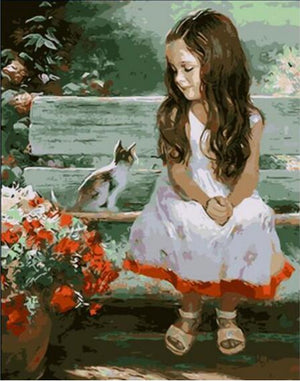 DIY-PAINT BY NUMBERS-LITTLE GIRL WITH KITTEN