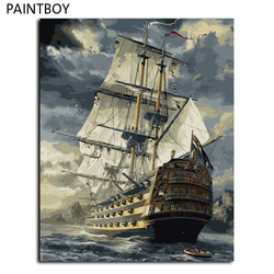 DIY-PAINT BY NUMBERS-WOODEN SHIP
