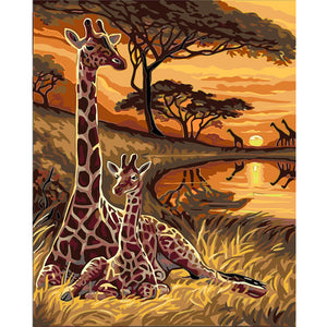 DIY-PAINT BY NUMBERS-GIRAFFES
