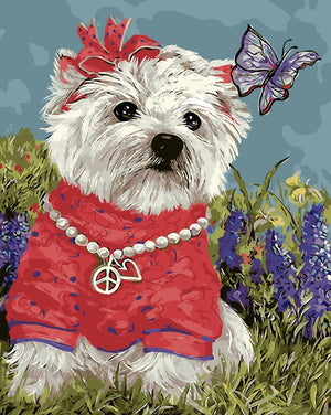 DIY-PAINT BY NUMBERS-DOG WITH BUTTERFLY