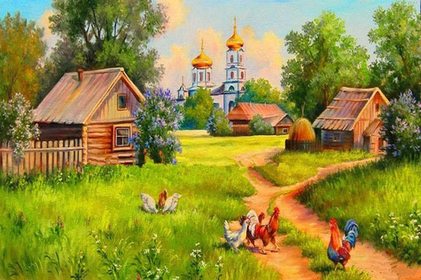 DIY-PAINT WITH DIAMONDS-CHICKENS IN THE VILLAGE