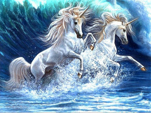 DIY-DIAMOND PAINTING/PAINT WITH DIAMONDS-WAVES OF UNICORNS