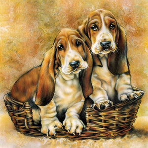 DIY-PAINT WITH DIAMONDS-DOGS IN A BASKET