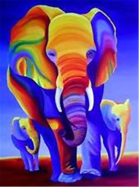 DIY-PAINT WITH DIAMONDS-COLORFUL ELEPHANTS