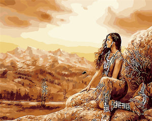 DIY-PAINT BY NUMBERS-NATIVE AMERICAN WOMAN