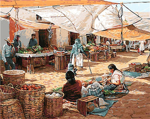 DIY-PAINT BY NUMBERS-NATIVE AMERICAN VILLAGE