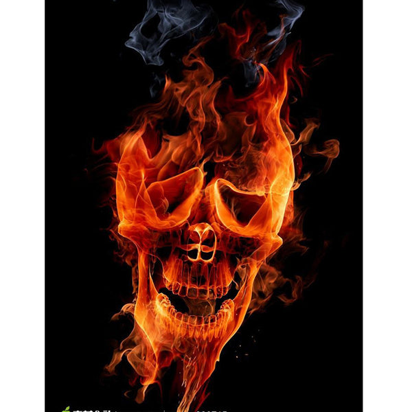 DIY-PAINT WITH DIAMONDS-FIRE SKULL