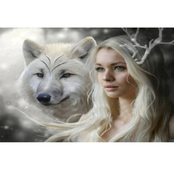 DIY-DIAMOND PAINTING/PAINT WITH DIAMONDS-WOLF PRINCESS
