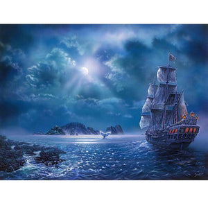 DIY-DIAMOND PAINTING/PAINT WITH DIAMONDS-NIGHT SAIL