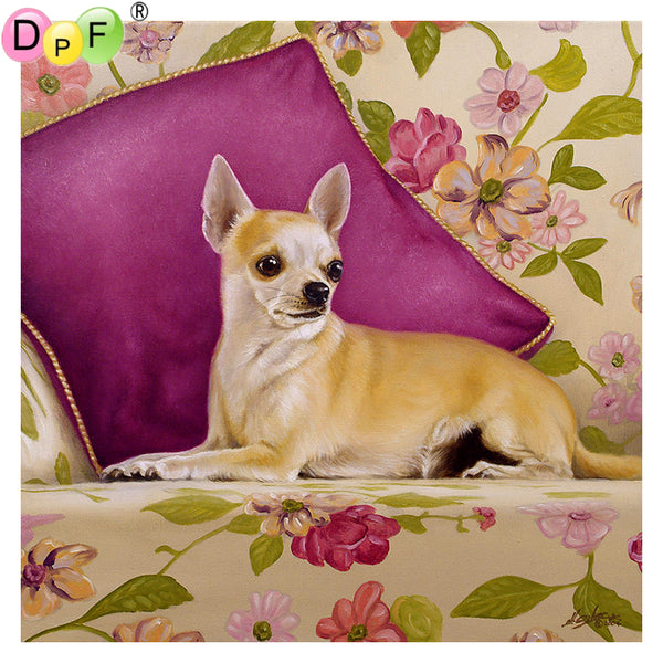 DIY-DIAMOND PAINTING/PAINT WITH DIAMONDS-RELAXING CHIHUAHUA
