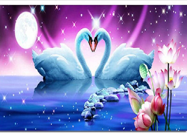 DIY-DIAMOND PAINTING/PAINT WITH DIAMONDS-LOVE SWANS