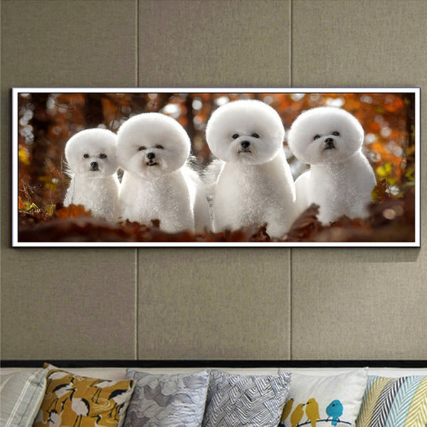 DIY-DIAMOND PAINTING/PAINT WITH DIAMONDS-BICHON FRISE