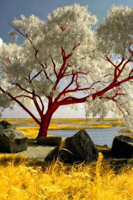 DIY-DIAMOND PAINTING/PAINT WITH DIAMONDS-TREE ON THE LAKE