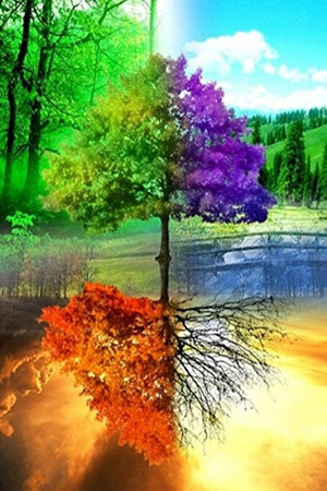 DIY-DIAMOND PAINTING/PAINT WITH DIAMONDS-4 SEASONS TREE