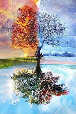 DIY-DIAMOND PAINTING/PAINT WITH DIAMONDS-4 SEASON TREE