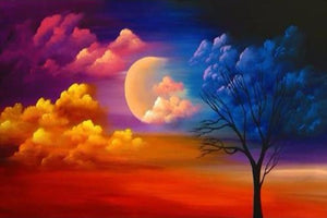 DIY-DIAMOND PAINTING/PAINT WITH DIAMONDS-MOON IN THE CLOUDS