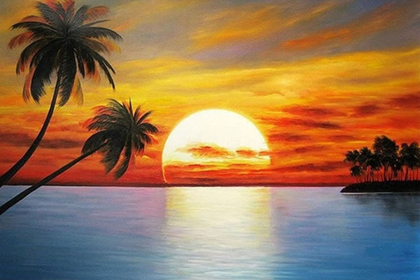 DIY-DIAMOND PAINTING/PAINT WITH DIAMONDS-TROPICAL SUNSET
