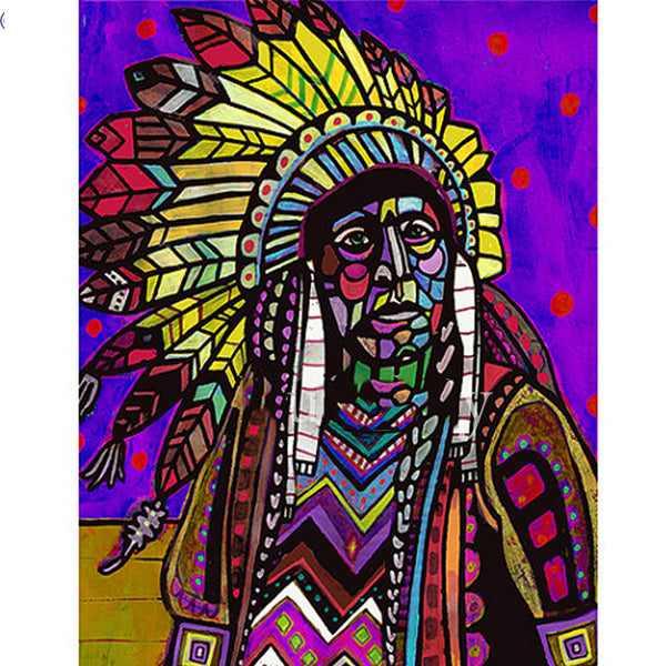 DIY-DIAMOND PAINTING/PAINT WITH DIAMONDS-NATIVE AMERICAN