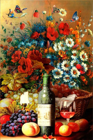 DIY-DIAMOND PAINTING/PAINT WITH DIAMONDS-WINE AND FLOWERS
