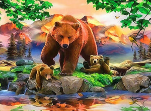 DIY-DIAMOND PAINTING/PAINT WITH DIAMONDS-BEAR AND CUBS