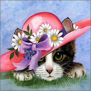 DIY-DIAMOND PAINTING/PAINT WITH DIAMONDS-CAT IN A FANCY HAT